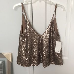 New with tags gold sequence tank top!